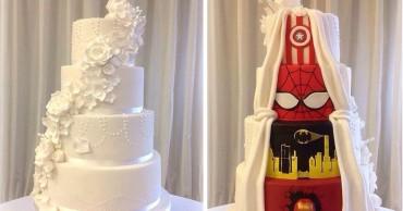 Ez a pár kompromisszumot kötött az esküvőjén és így született meg a két arcú esküvői torta