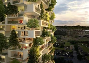 A 384 láb magas apartman a világ első épülete, melyet örökzöld fákkal borítottak