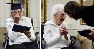 A 97 éves nő örömkönnyekben tört ki, miután sikerült leérettségiznie