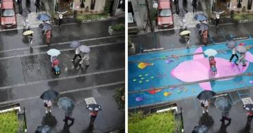 Színes festmények jelennek meg az útakon, ha esik az eső.